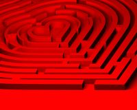 Love labyrinth to heart. Which way to the heart? The 3d red maze of love Royalty Free Stock Images