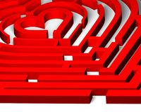 Love labyrinth to heart. Which way to the heart? The 3d red maze of love Royalty Free Stock Photography