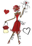 Love Lady. Illustration with a heart wand and with hearts stock illustration