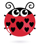 Love ladybug with hearts. Cute heart shaped ladybug. Vector Illustration Stock Photos