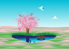 Love. The lake in the form of heart, couple of birds and a tree with pink leaves Stock Images