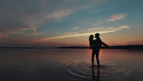 Love in the lake stock footage