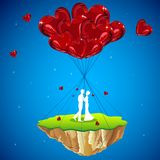 Love Land. Illustration of couple kissing on love land hanging with heart balloon Stock Photography