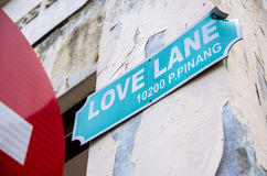 Love Lane signage which is located in the lane within the inner city of Georgetown,Penang. Royalty Free Stock Photo