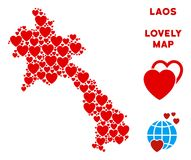 Vector Valentine Laos Map Mosaic of Hearts. Love Laos map collage of red hearts. We like Laos map template. Abstract vector territorial scheme is shaped with red vector illustration