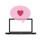 Love Laptop Greeting Royalty Free Stock Photography