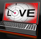 Love On Laptop Shows Romance Stock Images
