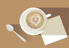 Love latte. Hot cup of latte with heart stock illustration