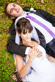 Love on lawn Royalty Free Stock Photography
