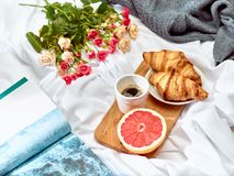 The Love lconcept on table with breakfast. The Love concept on table with breakfast, coffee, cake, flowers royalty free stock photos