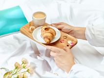 The Love lconcept on table with breakfast. The Love concept on table with breakfast, coffee, cake, flowers royalty free stock photography