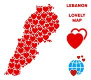 Vector Valentine Lebanon Map Collage of Hearts. Love Lebanon map collage of red hearts. We like Lebanon map template. Abstract vector area scheme is formed of royalty free illustration