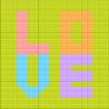 Love lego brick. Illustration of the love lego brick  on the green background Stock Photo