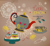 Love lemon tea card Royalty Free Stock Images