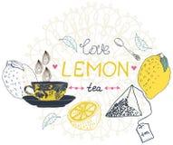 Love lemon tea card. Beautiful handdrawn illustration Royalty Free Stock Images