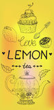 Love lemon tea card Stock Images