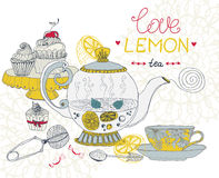 Love lemon tea card Royalty Free Stock Photo
