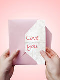 Love-letter. In a young woman hands Stock Photography