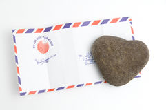 Love letter. The heart stone and love letter Stock Image