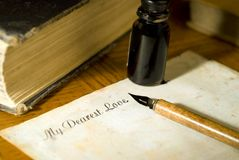 Love Letter. A person write a letter to a loved one royalty free stock images