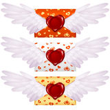 Love letter. With wings and wax seal in the shape of heart Royalty Free Stock Images