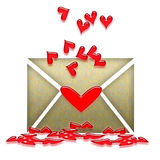Love Letter. With Red Hearts over White Background Royalty Free Stock Photography