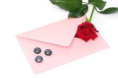 Love letter. Pink love letter and red rose Stock Photos