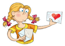 Love Letter. The girl received a love letter and she was surprised royalty free illustration