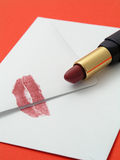 Love Letter. With lipstick Royalty Free Stock Images