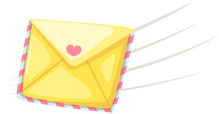 Love letter. Illustration of isolated sending love letter on white Stock Image