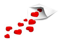 Love letter. Red hearts falling out of an white envelope Royalty Free Stock Photography