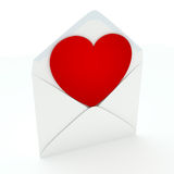 Love Letter. A red heart in unsealed envelope  on white background. Computer generated image with clipping path Stock Images