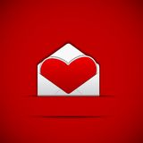 Love Letter. Easy to edit vector illustration of heart shape in envelope stock illustration