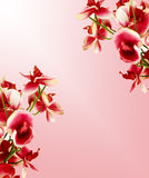 Love letter. A piece of paper with flowers on sides Royalty Free Stock Photos