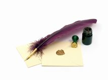 Love Letter. Studio. Isolated. Still-life about a letter with a quill, an inkwell & a stamp on white background Stock Photography