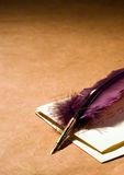 Love Letter. Still-life about a love letter with a quill  on a rustic paper.  Valentine Card Stock Photography