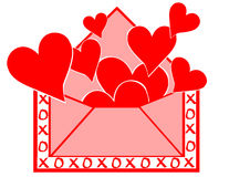 Love letter. Rendering of an evelope bursting with hearts stock illustration