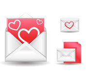 Love letter. Realistic vector red love letters Royalty Free Stock Image