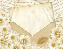 Love letter. With flower on paper background Royalty Free Stock Image