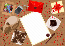 Love Letter. Abstract background with love letter and red envelope, gift, sleeping cat, biscuits on the plate and a box with heart shape presents on the wooden Royalty Free Stock Image