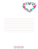 Love letter background. Love letter paper background with embroidered heart Royalty Free Stock Images