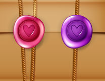 Love letter background with wax seal Royalty Free Stock Images