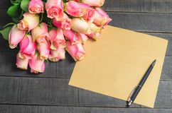 Love letter bouquet of pink roses, free space Royalty Free Stock Image