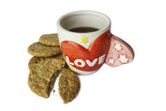 Love letter on ceramic coffee mug. With cookies Stock Image