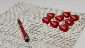 Love Letter. With Chocolates for that special someone maybe on Valentines Day Royalty Free Stock Photo