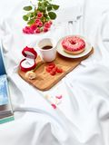 The Love letter concept on table with breakfast Royalty Free Stock Images