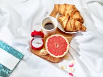 The Love letter concept on table with breakfast Stock Photo