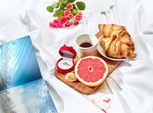 The Love letter concept on table with breakfast Stock Image