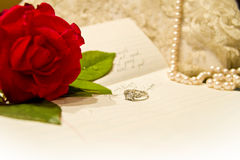 Love letter. With engagement ring Stock Photos