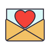 Love letter. Envelope with heart. Vector flat illustration Royalty Free Stock Photography
